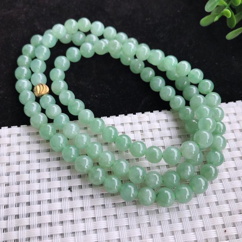 老坑清新水绿项链,细腻,种水足,色泽清新,淡雅,清秀优雅,气质迷人,尺寸7.2,98颗