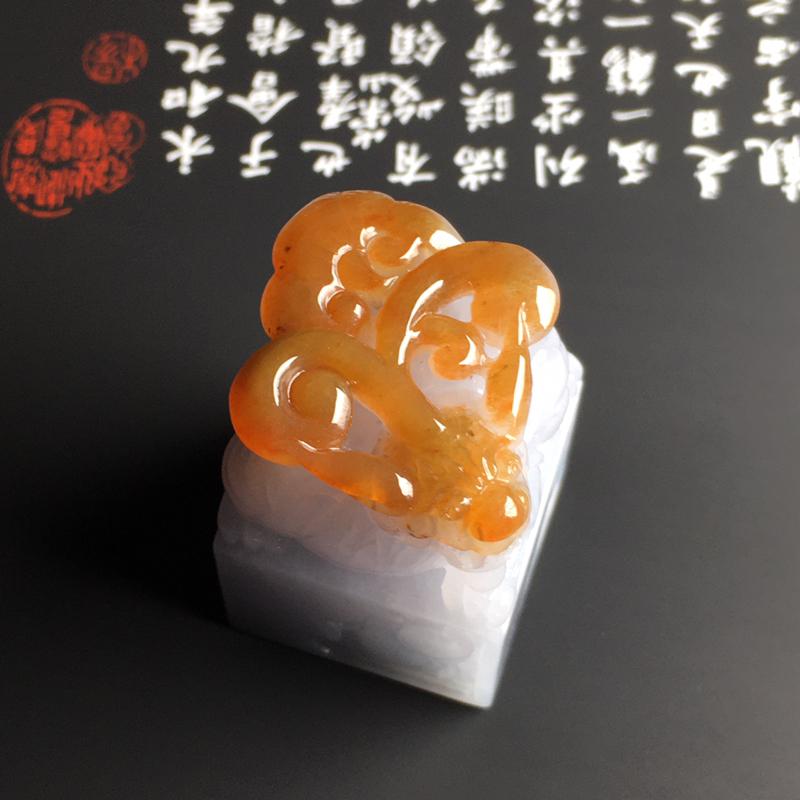 糯化种黄翡【招财貔貅】印章 质地细腻 雕工精湛 色彩艳丽