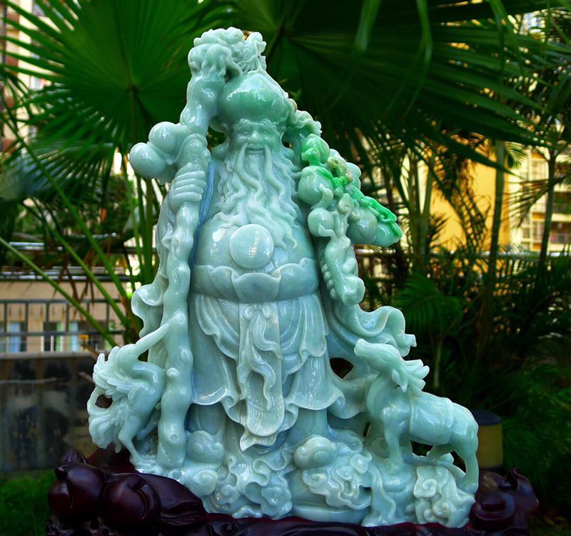 寿星公摆件 缅甸天然翡翠A货 精美 寿星公 摆件 纳福招财 健康长寿 雕刻精美线条流畅种水好 搭配精