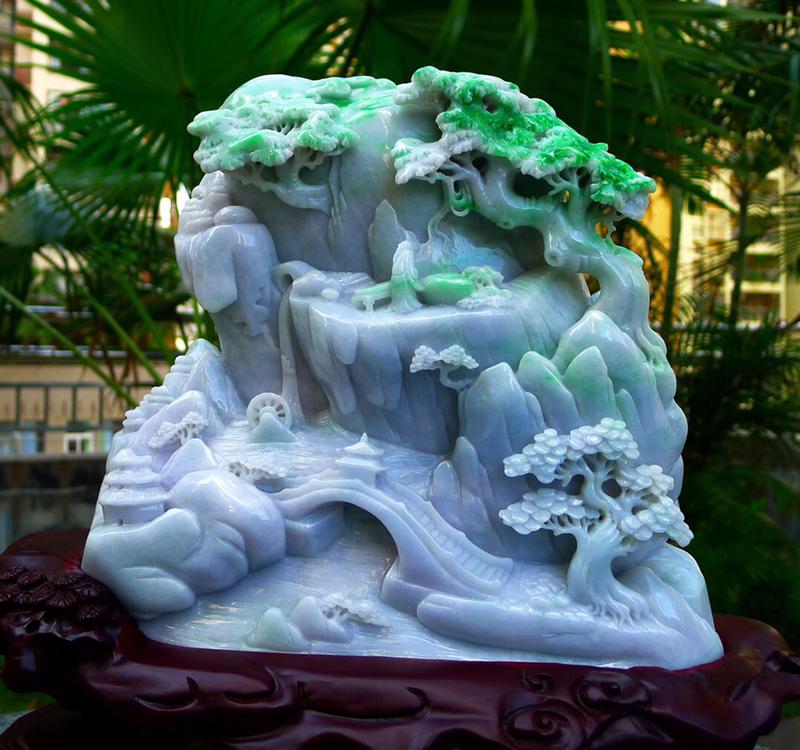 精雕飘花 正阳绿 山水摆件缅甸天然翡翠A货 精美 绿 高山流水 山水摆件 雕刻精美线条流畅种水好 层