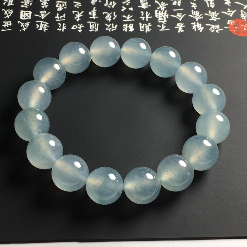 高冰种蓝晴佛珠手串 16颗 直径13毫米 起光起胶 晶莹剔透 种老冰润 胶感十足