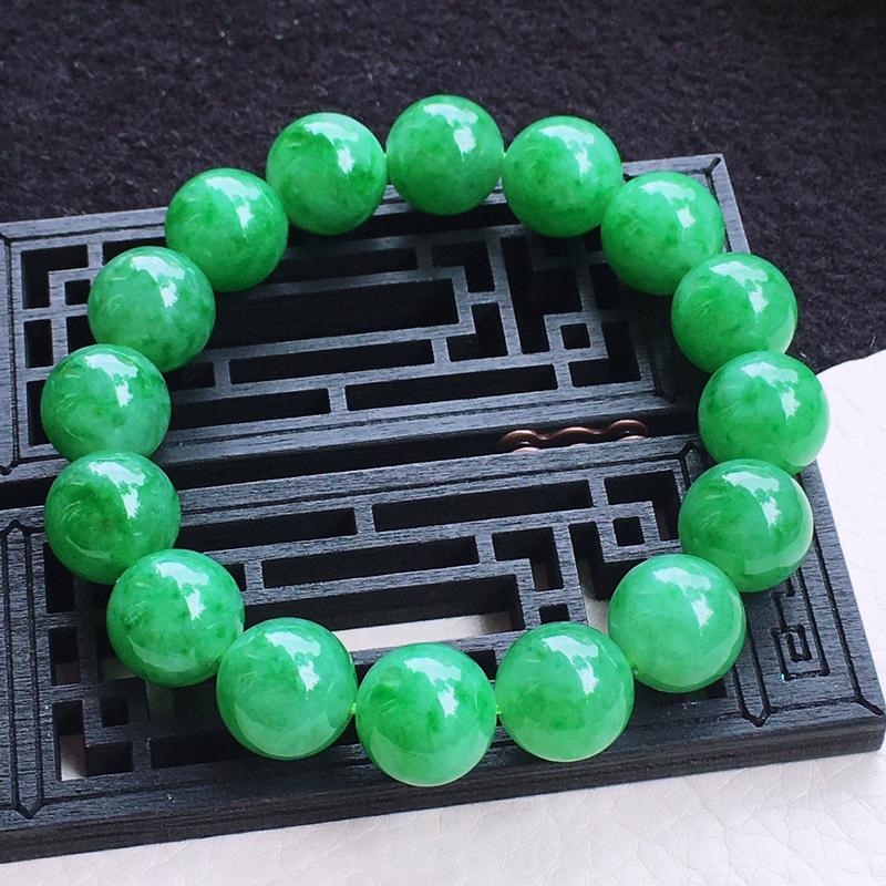 满绿圆珠手链 种色俱佳 色泽均匀!上手高档!尺寸:12.9mm
