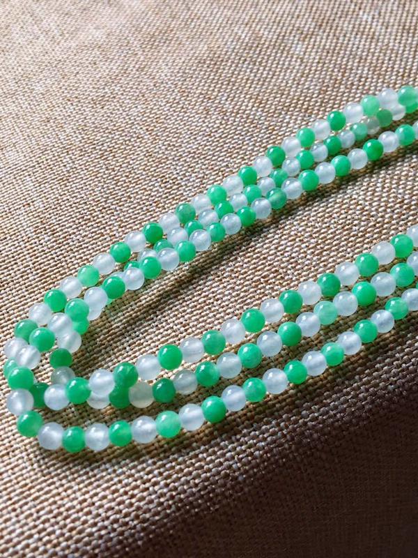 【低价放漏】绿珠链,无纹无裂,水头足,裸石尺寸3/3.5