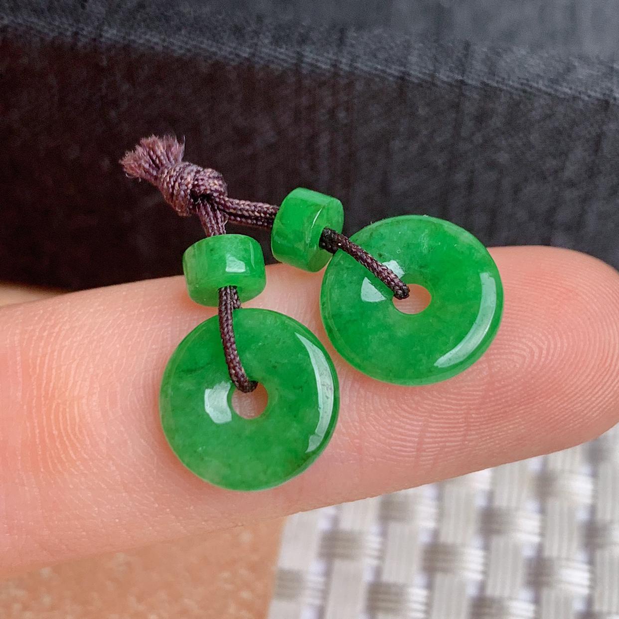 A货翡翠-种好满绿平安扣耳坠,尺寸-10.2*1.9mm