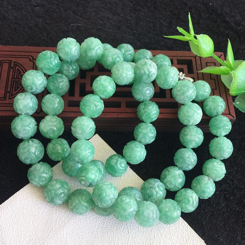 翡翠满色油润油绿圆珠项链,花开富贵,翡翠佛珠玉链,色泽均匀,种老水足,玉质细腻,单珠9.8mm,共5