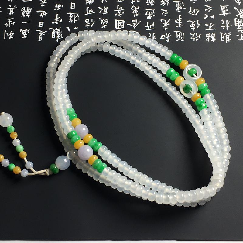 冰种双彩盘珠项链  尺寸5-2毫米 种好冰透 清爽细腻 独特精美