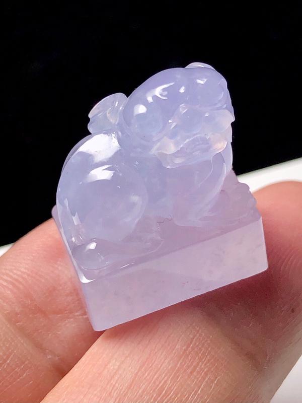 天然翡翠冰种紫罗兰貔貅印章 【尺寸】23.8*19.2*13(mm) 冰种紫罗兰,清新淡雅,精致优雅