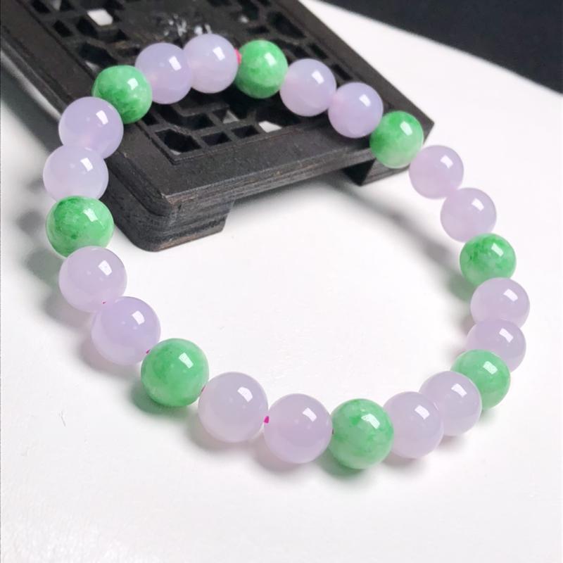 糯化种双彩翡翠珠链手串、直径7.6毫米、质地细腻、色彩鲜艳、A379C2685