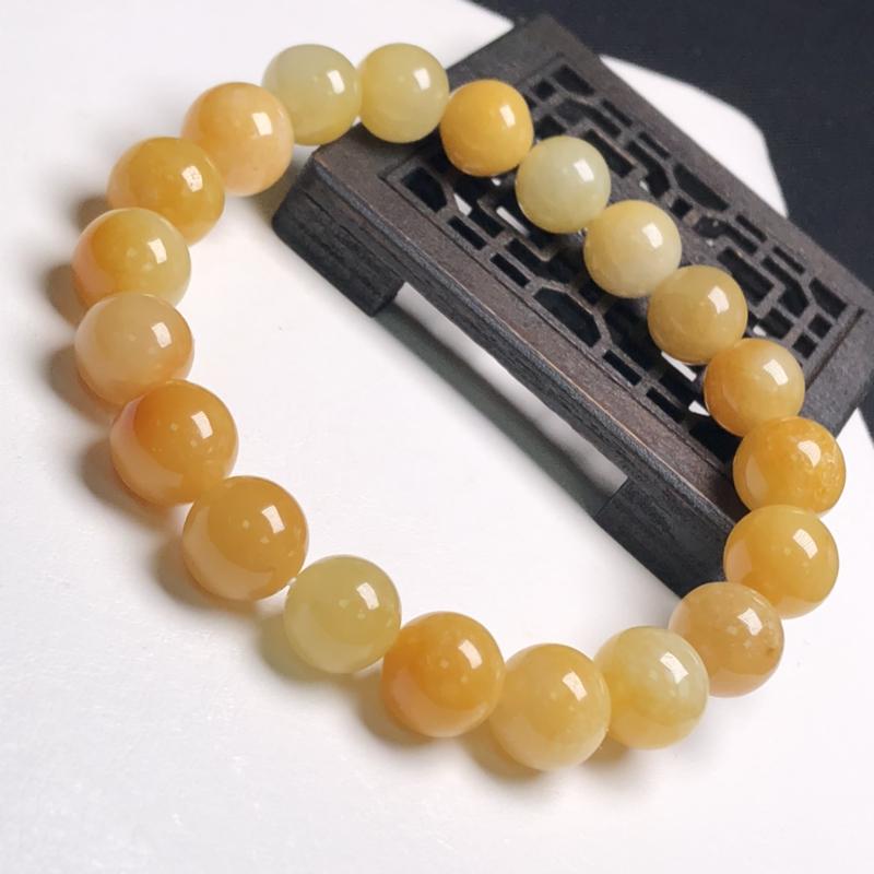 糯化种黄翡翠珠链手串、直径9.8毫米、质地细腻、色彩鲜艳、A379B9281