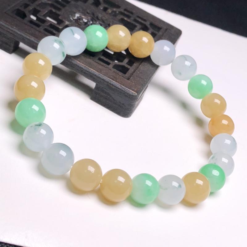 糯化种多彩翡翠珠链手串、直径8.3毫米、质地细腻、色彩鲜艳、A032C2891