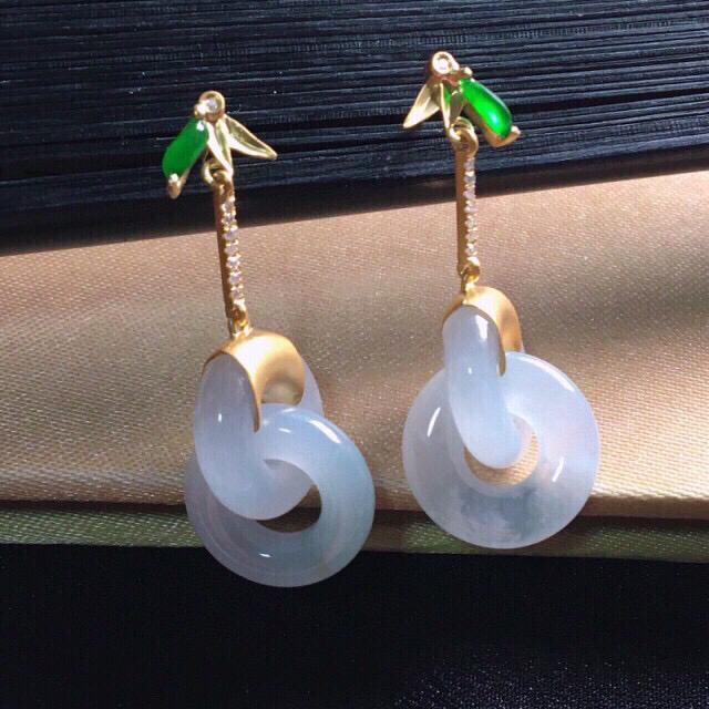 【值得推荐】好漂亮的老种起胶冰双环耳钉,绿旦面搭配,18K金伴钻镶嵌,尺寸33.2*12.5*3.