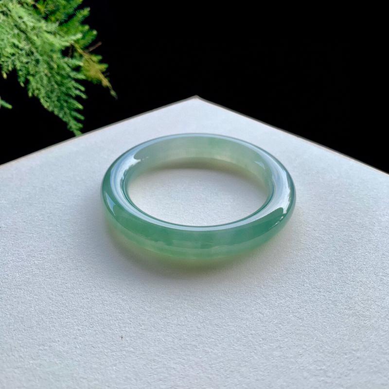 冰油青色翡翠手镯,圆条56.8-11-11,水润,种老,无纹裂