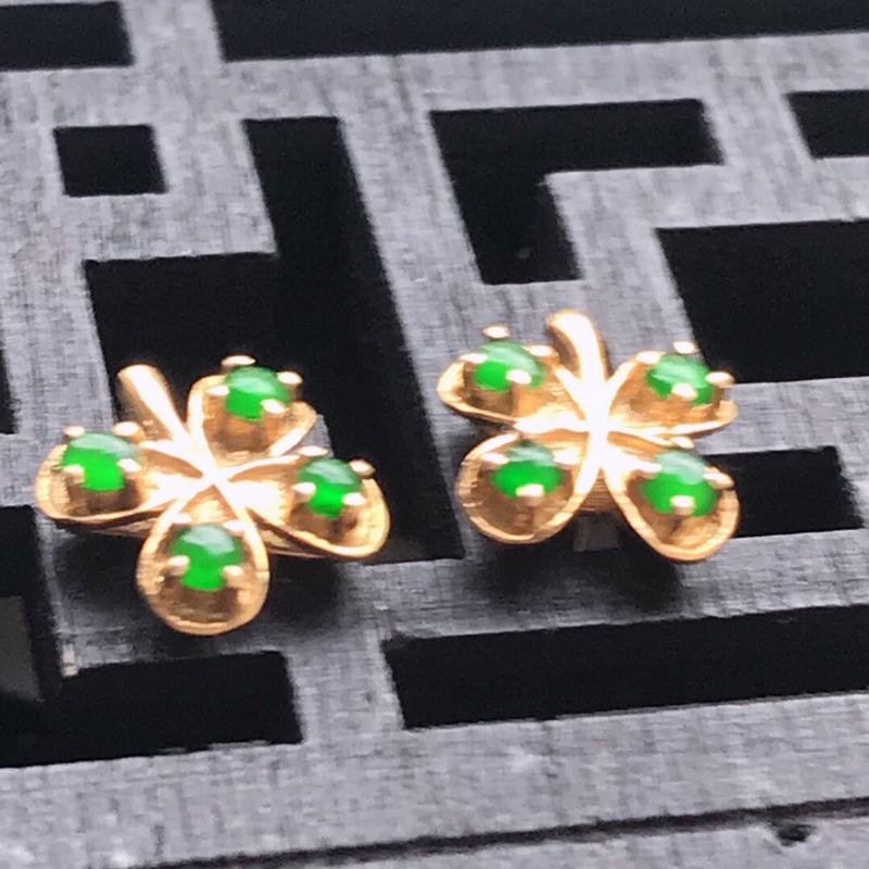 天然翡翠A货种水好满绿花开富贵耳钉镶嵌18k金伴钻                       规格