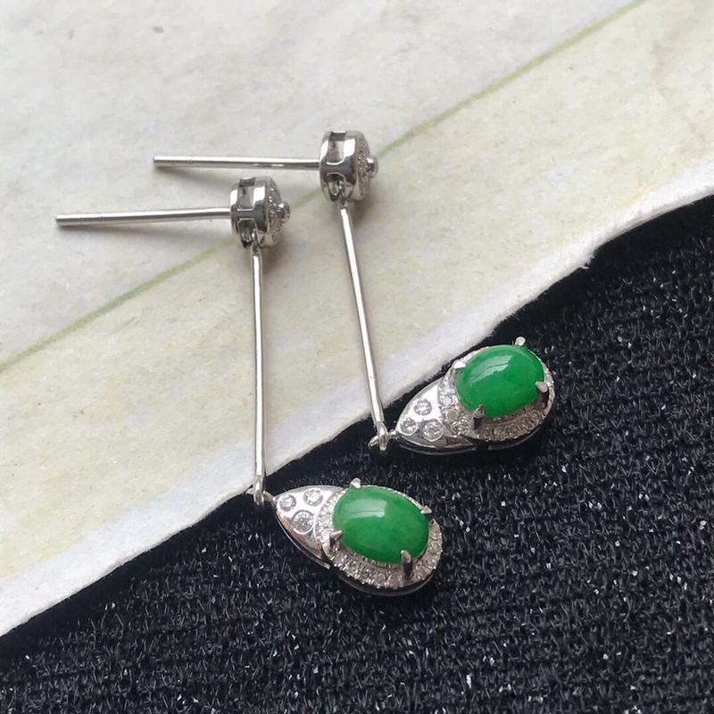 天然翡翠A货种水好满绿耳环镶嵌18k金伴钻                         规格:裸