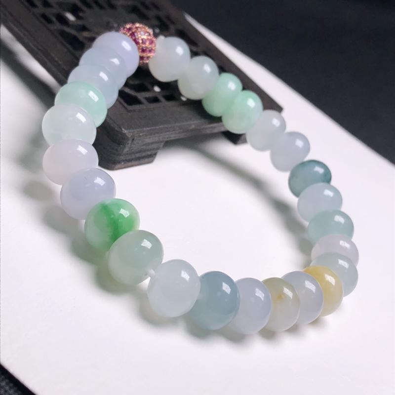 糯化种多彩面包珠翡翠珠链手串、直径8.7*6.8毫米、质地细腻、色彩鲜艳、隔珠是装饰品、A307B4