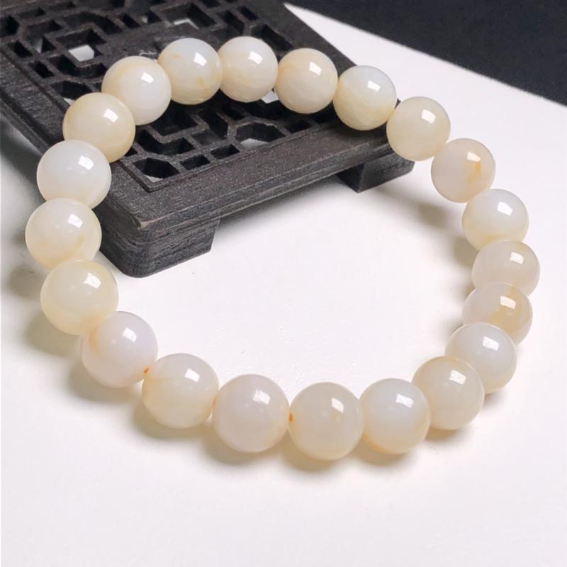 糯化种淡黄翡翠珠链手串、直径9.1毫米、质地细腻、色彩鲜艳、A085B4109