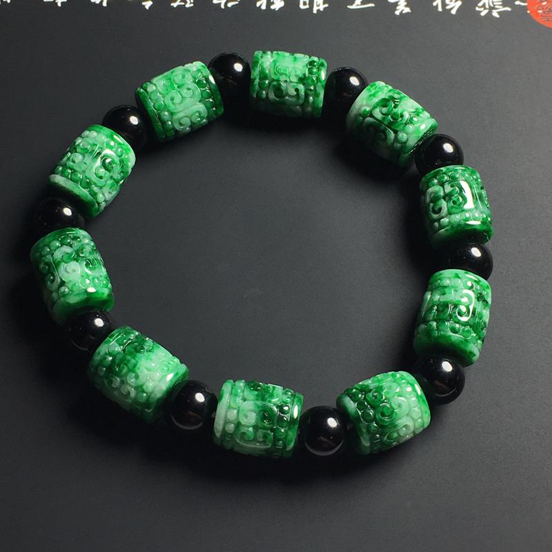 豆种阳绿路路通手串 10颗 尺寸11-10毫米 翠色艳丽 独特大气 隔珠属装饰品