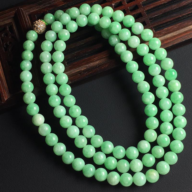 带色佛珠项链 佛珠尺寸6毫米 玉质水润 色彩亮丽 美观时尚