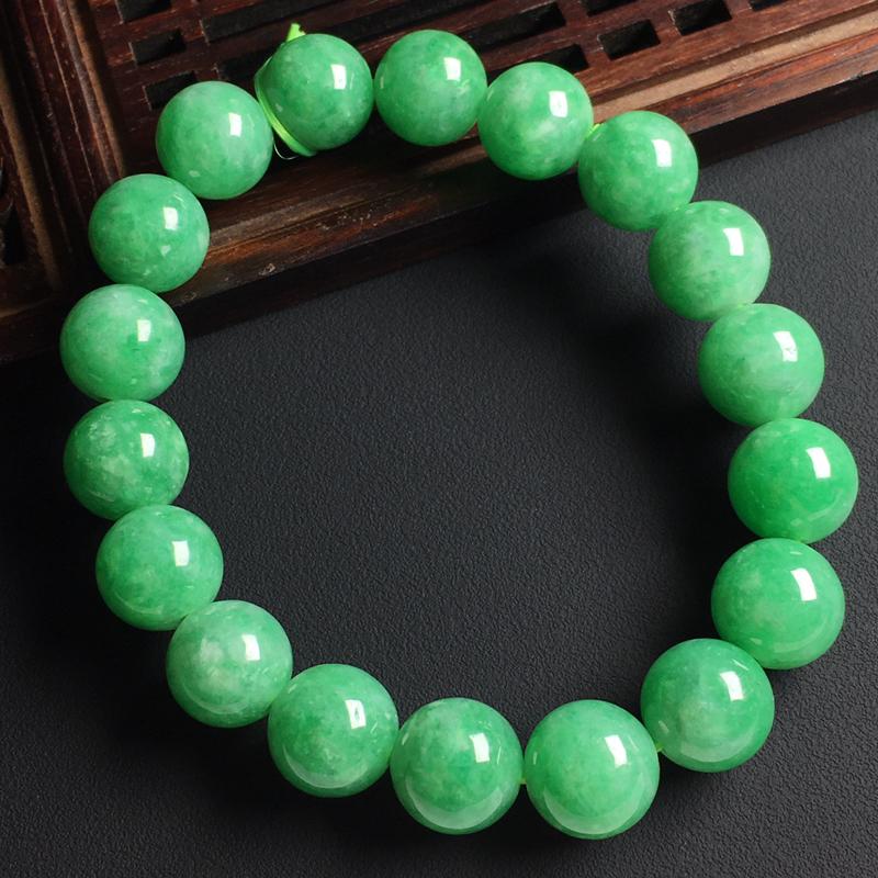 满色佛珠手串 佛珠尺寸10.5毫米 玉质水润 色彩亮丽 美观时尚