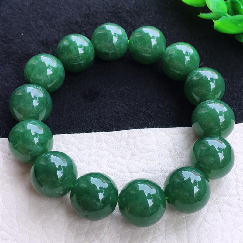 满绿大颗粒手串 老坑料 种老水足 珠子圆润饱满 色泽浓郁 上手高档大气!尺寸:15.5mm n1-7
