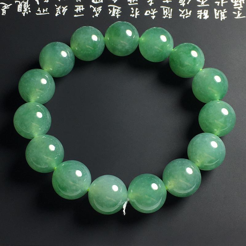冰种翠绿佛珠手串 15颗 直径14毫米 种好冰透 细腻起胶 翠色艳丽 大气精美