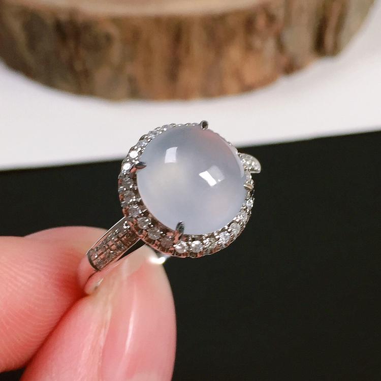 冰种翡翠戒指,种水好,冰莹通透,指圈:14#,裸石尺寸:8.7-8.2-4.3