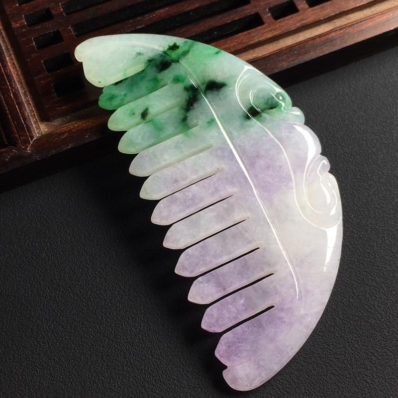 春彩一梳百顺裸石尺寸70-33-3.5毫米 玉质水润  色彩亮丽 美观时尚 雕工精湛