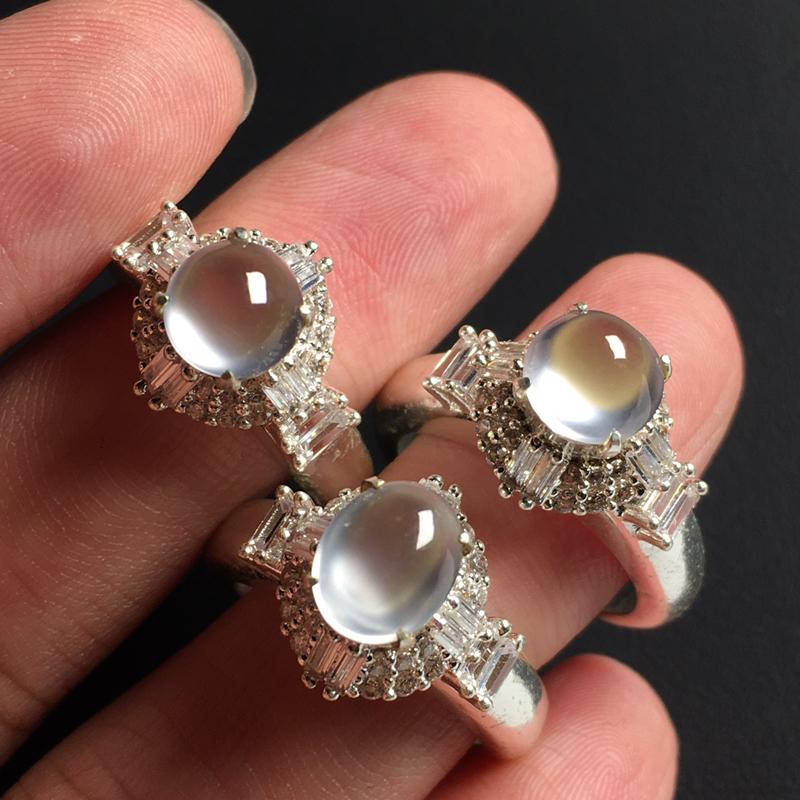 冰玻戒面裸石 3颗 铜托 裸石尺寸8-6-3/7-3毫米 玉质水润 饱满起荧光 美观时尚