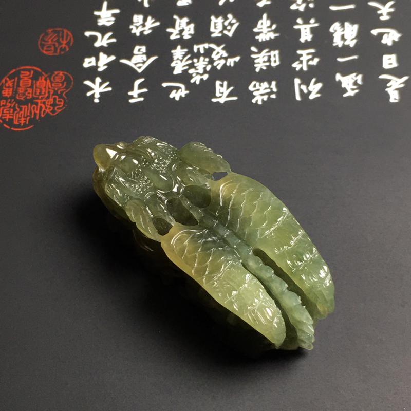 豆种黄翡【招财貔貅】吊坠 雕工精湛 色彩艳丽