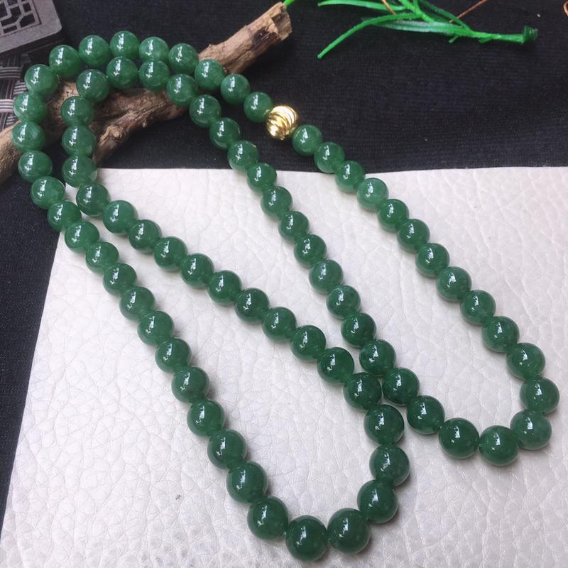 老油青水润圆珠玉链 玉质水润,色泽鲜艳,项链 手串 毛衣链三用!尺寸:8.5mm 共76颗,配珠为装