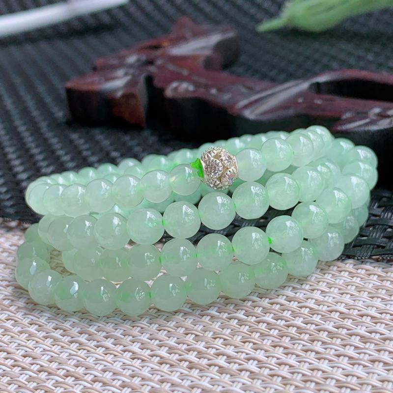 尺寸:108颗6.6mm,A货翡翠冰种满绿圆珠项链,