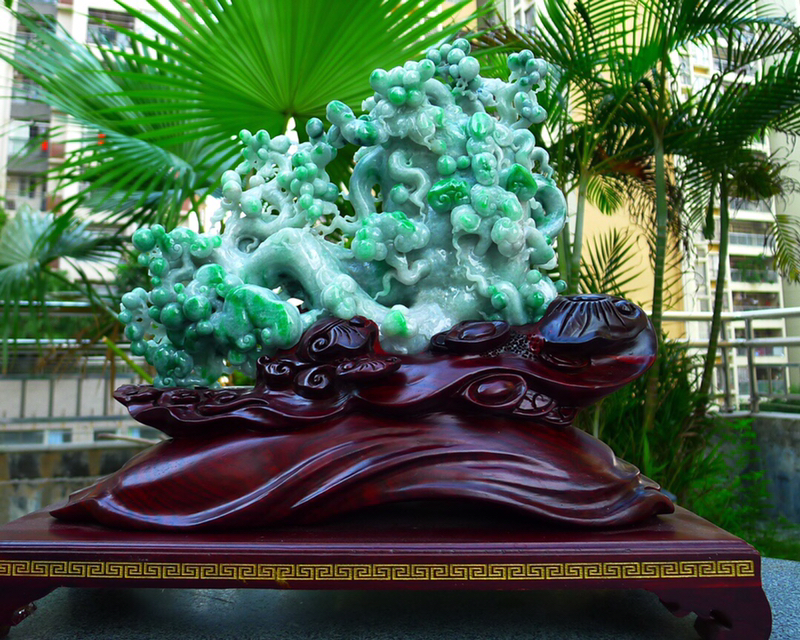 翡翠人参如意摆件 ,缅甸天然翡翠A货 精美绿色人参摆件 寓意人生如意 财源广进 步步高升 延年益寿,