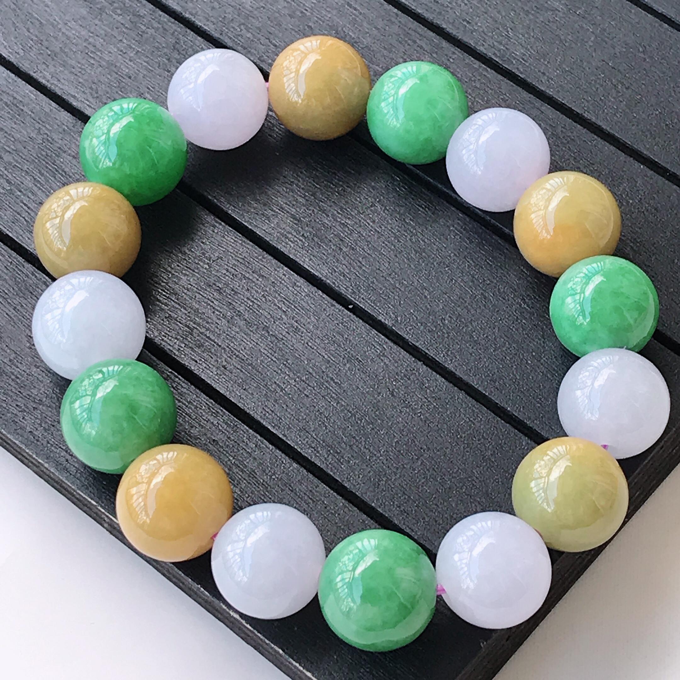 水润三彩精美圆珠翡翠手链  玉质细腻  冰清玉润  颜色漂亮    尺寸直径12.8
