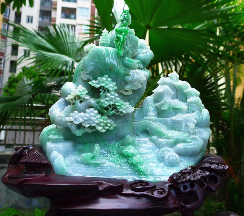 精雕山水摆件 🤩缅甸天然翡翠A货 精美 飘绿 高山流水 山水摆件 雕刻精美线条流畅种水好 层次分明