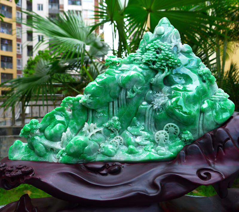 多子多福 山水摆件 🤩🤩缅甸天然翡翠A货 精美 飘花 阳绿 高山流水 山水摆件 雕刻精美线条流畅种水