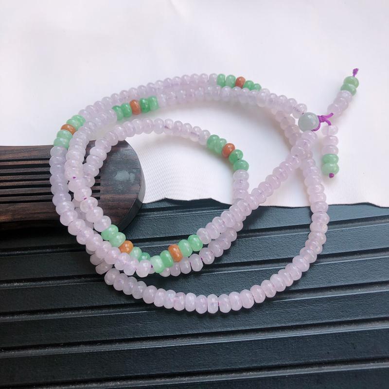 09/09   三彩算盘珠项链,玉质细腻水润,种水好