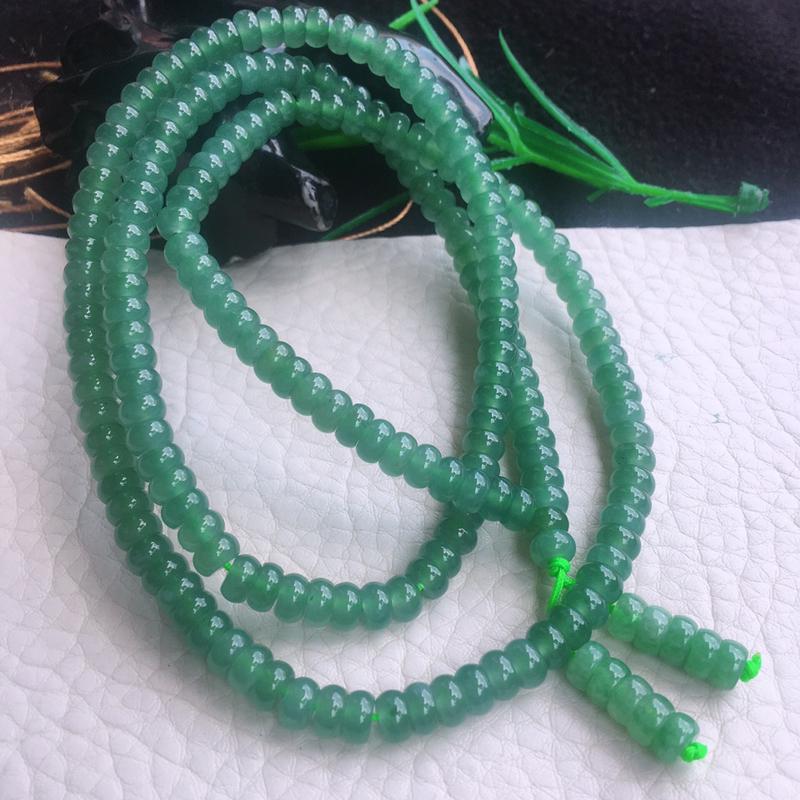 老坑老油青算盘珠玉链 玉质细腻,色泽鲜艳 项链 手链双用!尺寸:5.4*3.1mm 周长约:660m