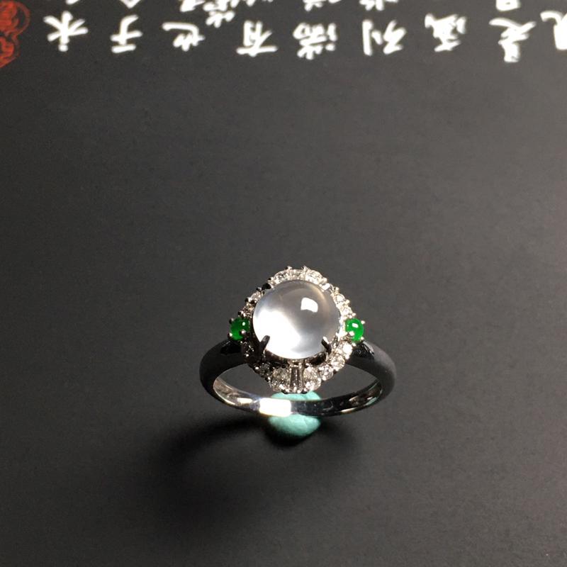 玻璃种戒面镶嵌女戒 指圈16.5毫米 裸石尺寸7.5-3.6毫米 水润通透 起光起胶 款式时尚