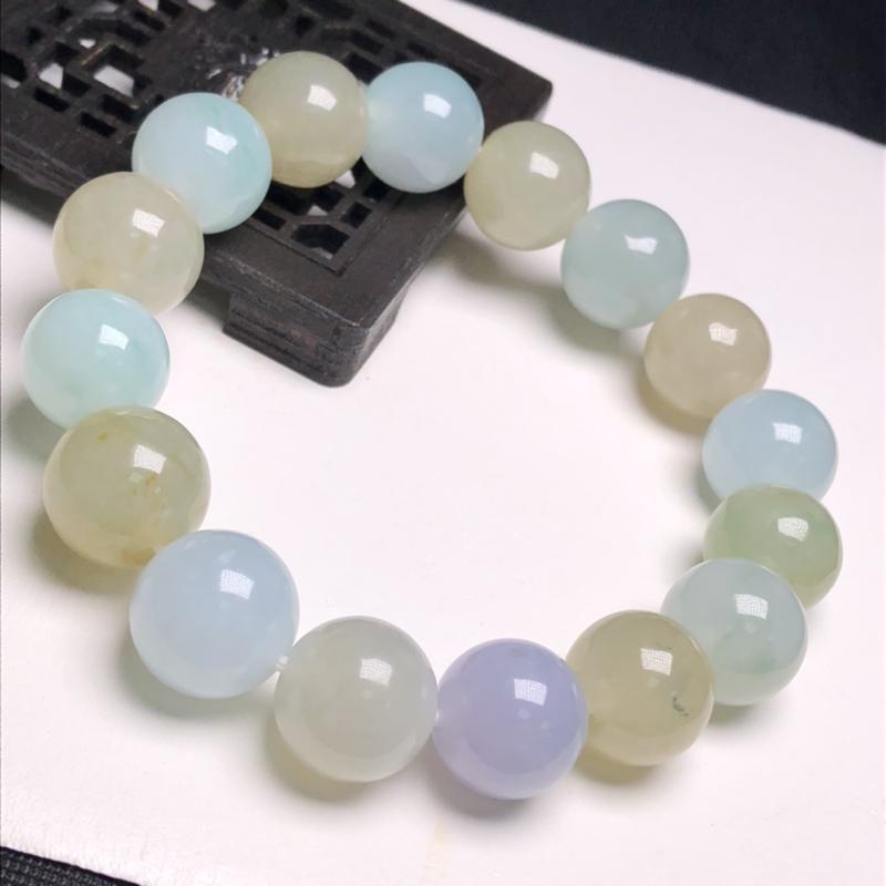 糯化种双彩翡翠珠链手串、直径13.3毫米、质地细腻、色彩鲜艳、A236C2761