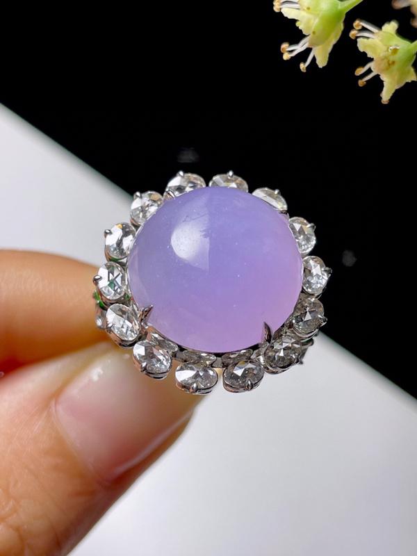 天然翡翠冰糯紫罗兰鸽子蛋面戒指 【尺寸】16.5(mm) 【裸石】16.3*15.9*5(mm)种