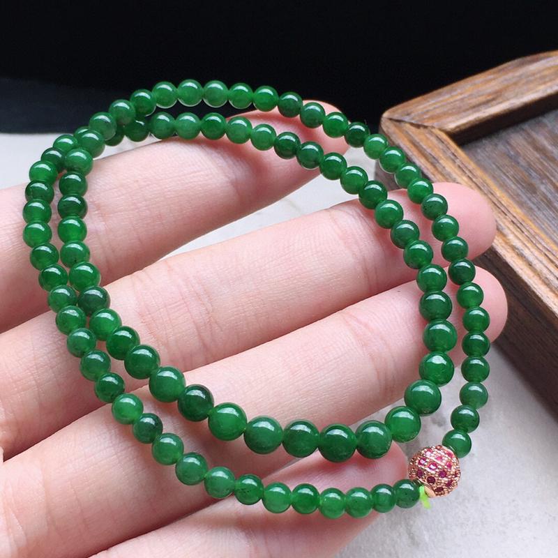 串珠手串,翡翠满绿圆珠手串(铜扣),自然光实拍,玉质莹润,佩戴佳品,单颗尺寸:4.3mm,92颗,重