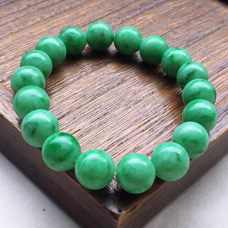串珠手串,翡翠满绿圆珠手串,自然光实拍,玉质莹润,佩戴佳品,单颗尺寸:10.9mm,重39.88克