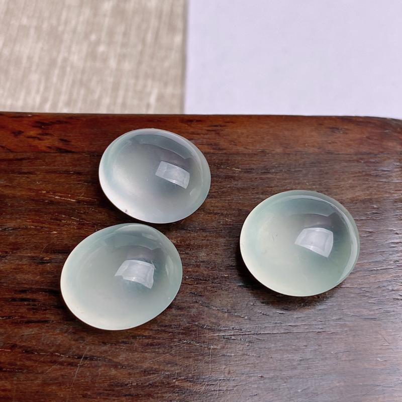 A货翡翠-种好冰种蛋面镶嵌件,尺寸-12.5*11.6*6.5mm