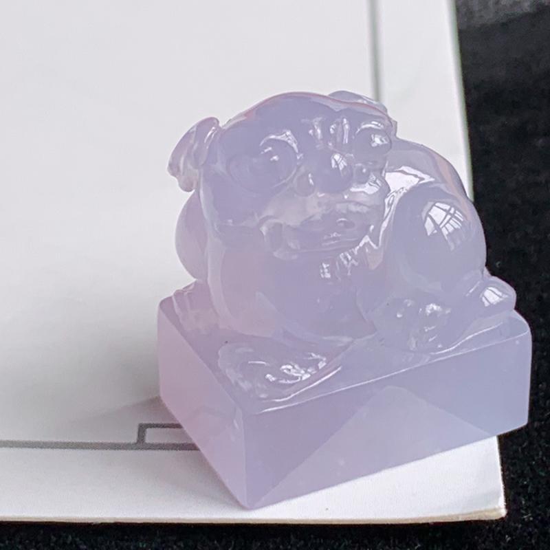 翡翠a货冰糯种紫罗兰招财貔貅印章,尺寸:23.1×19.2×13.2mm,料子细腻,种水好,工艺精美