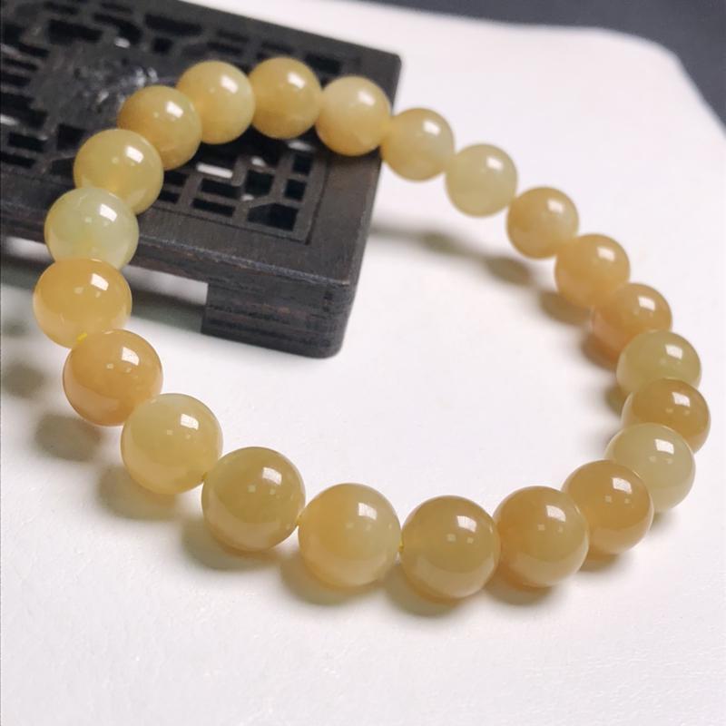 糯化种黄翡翠珠链手串、直径8.0毫米、质地细腻、色彩鲜艳、A109C3651