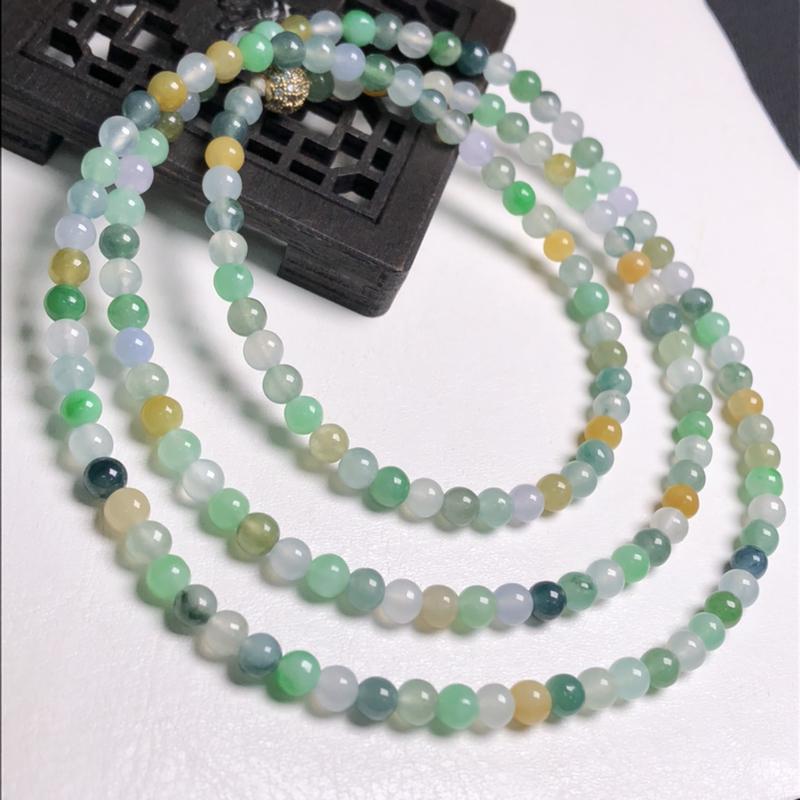冰糯种多彩小米珠翡翠珠链项链、160颗、直径4.3毫米、质地细腻、色彩鲜艳、隔珠是装饰品、A109C