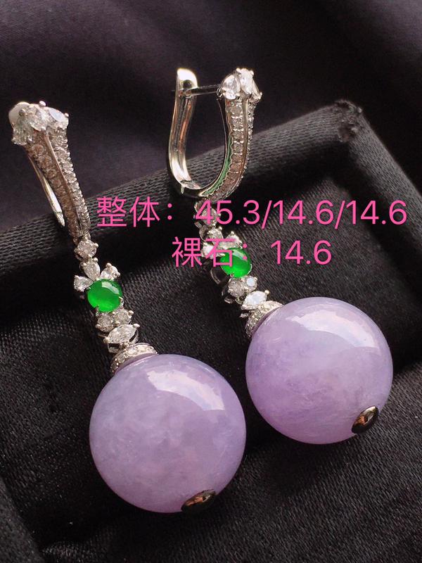 #自然光实拍#,紫色耳坠,色泽鲜艳,料子细腻,裸石尺寸:14.6