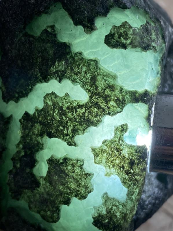459克莫湾基精品开窗料,皮壳黑亮有光泽局部带有腊皮,皮壳紧实,开窗处肉质细腻,种老,起胶起荧,有糯