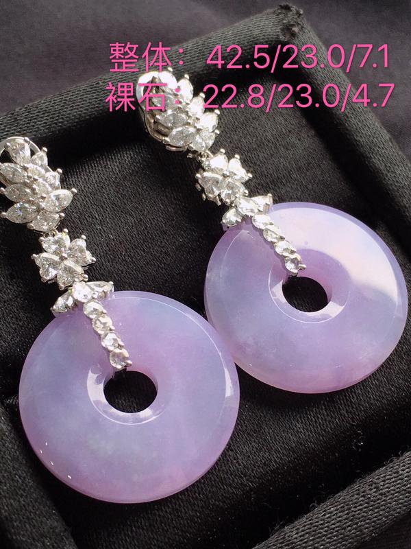 #自然光实拍#,紫色耳坠,色泽鲜艳,料子细腻,裸石尺寸:22.8*23.0*4.7