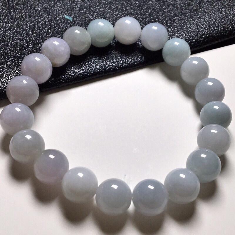 女士淡紫圆珠手串,玉质细腻,料子干净,莹润光泽,冰润通透,圆润饱满,尺寸:9.9mm